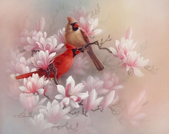 Cardinals and Magnolia Art Print of Painting  - Flowers Birds Chinese Asian Oriental Style