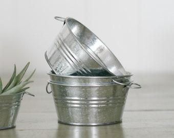"Galvanized Round Tin Bucket Tub Pot Pail Container DIY Wedding 4"""