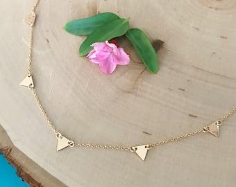 Gold Triangle Charm Choker / Short Necklace - Geometric