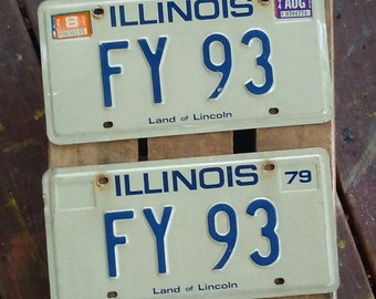 Vintage license plate, 1979 Illinois plates
