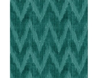 LEE JOFA KRAVET Holland Flamest Belgium Chevron Cut Velvet Fabric 10 yards Teal
