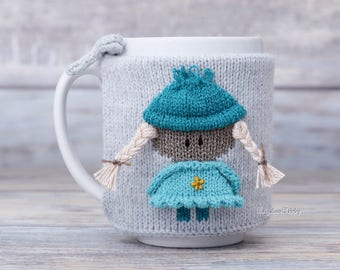 Little girl, Knitted coffee mug cozy, Gift for her, Party favor, Hot drink cozy, Mug sweater, Tea sleeve, Cup warmer, Tea cup cozy, Teal