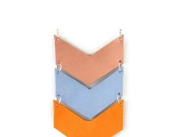 Chevron Arrow Long Necklace | Leather | Silver | Boho | Chevron jewelry | Copper blue yellow | No clasp | Chic | Geometric | Womans gift |