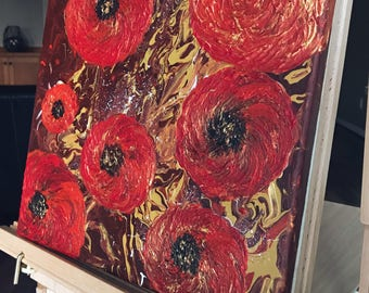 Original acrylic painting 'Poppies': original art, acrylic painting, canvas art, red, gold, abstract painting, wall decor
