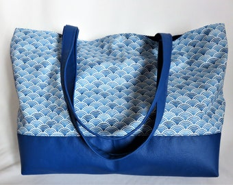 Sac bleu, coton enduit et simili cuir, inspiration japonaise