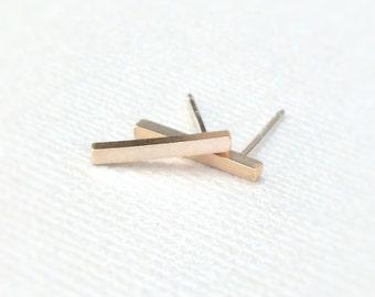 Gold Line Earrings ~ Small 14k Gold Filled Geometric Bar Stud ~ Simple Minimal Everyday Earrings