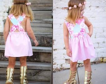 baby dress, Pinafore dress, Girls Dress, Summer Dress, Vintage, Florals, Flower Girl Dress, Baby Girls Dress, Handmade, Pink Dress, dresses