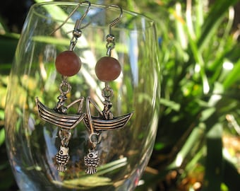 Fishing boat and pink agate earrings
