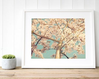 Cherry blossom wall art, cherry blossom print, cherry blossom art, blossom nursery print, pink cherry blossom photography, gifts for her