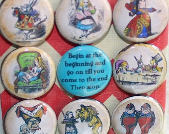 Alice in Wonderland Magnets - One Inch - Begin At The Beginning