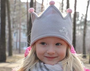 Personalized crown | Pom pom crown | Fleece crown | Fleece Headband | outdoor headband | Fleece ear warmer | Kids photo crown | Soft crown