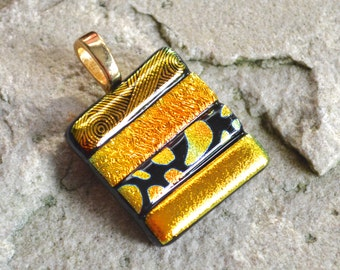 Dichroic Glass Pendant or Brooch Metallic Stripes Square Shape in Golds Patterns on your Choice of Silver or Gold Bail or Pin - Gift Boxed