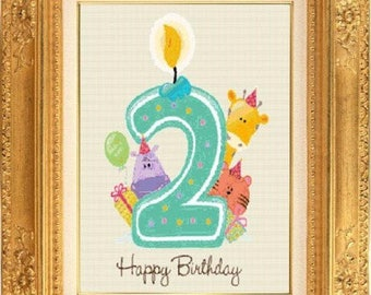 Birthday counted cross stitch