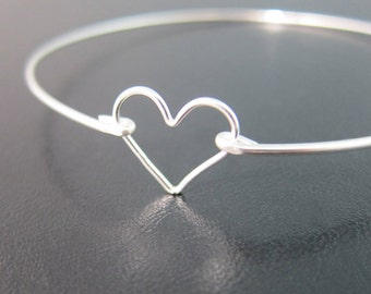 Sterling Silver Heart Bracelet, Sterling Silver Heart Bangle, Bridesmaid Jewelry, Bridesmaid Gift Bracelet, Silver Sterling Heart Bracelet