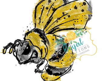 Hornet Mascot, Watercolor Hornet, Black and Gold, Download PNG JPEG
