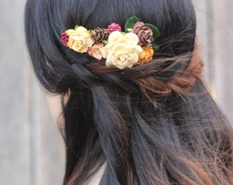 Wedding Flower Hair Piece, Burgundy Hair Piece, Floral Hair Comb, Winter Hair Accessories, Floral Hair Piece, Fall Comb, Bridal Flower Comb