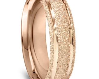 Rose Gold Wedding Band, Mens 14K Rose Gold 6MM Brushed Wedding Ring, Rose Gold Band, Mens Wedding Band Ring Size 7-12