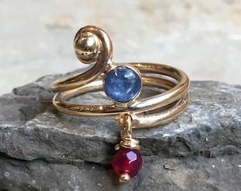 family ring, Kynite garnet customised ring, Mothers ring, Gold Filled ring, birthstones ring, family ring, multistone - Family time R2501
