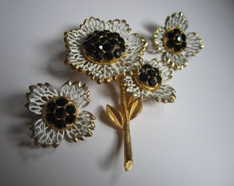 Vintage Brooch and Earring Set Black and White