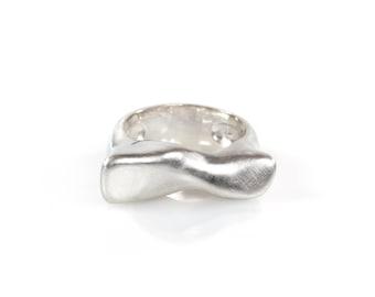 Sculptural Ring, Silver Statement Ring, Modern Silver Ring, Recycled Silver Ring, Minimalist Silver Ring, Reclaimed Silver, Artisan Ring