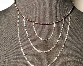 AB Garnet and sterling silver necklace