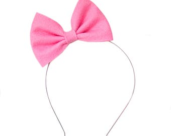 Cotton Candy Betty Bow - Pink Felt Bow - Bow Headband - Metal Headband - Pink Hair Bow - Nylon Headband - Large Bow Headband