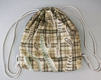 String Backpack - Cotton Plaid and Feather Print