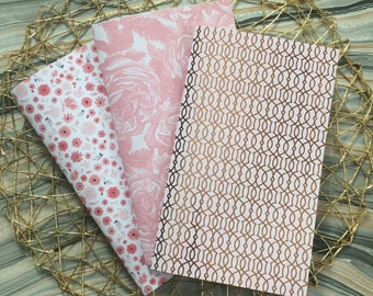 Set of 3 Rose Gold, Pink & White Floral Notebooks, Unlined