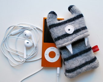 Gray and Navy Stripey Monster iPod Nano or Shuffle Cozy - Upcycled - Recycled - iPod Case - MP3 Player  - Wallet - Tween Teen Gift