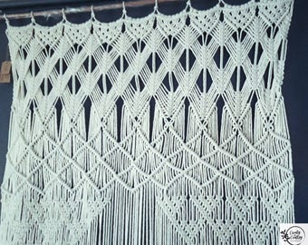 "Title: Gypsy  40"" 48"" Wide Macrame Door Curtain 