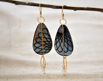 "Spiral galaxy ""spirodoodle"" patina brass 14kt gold fill earrings"