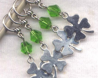 4 Leaf Clover Knitting Stitch Markers Celtic Theme Lucky Shamrock Irish Set of 4 /SM303