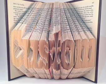 Book Folding Custom - Personalized Folded Book - BLOCK FONT -  Last Name