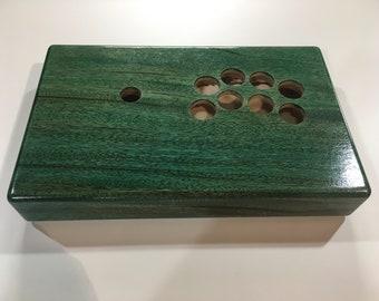 Arcade stick case - Solid Mahogany - Green/Blue
