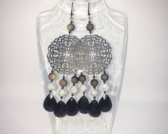 earrings with filigree and crystals