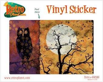 Black Owl All Hallows Eve Vinyl Sticker - #68356