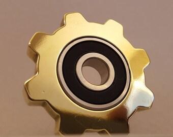The Steampunk IDLER Fidget Spinner in BRASS