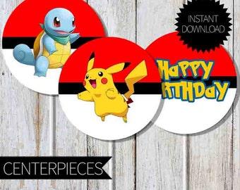 Pokemon GO Birthday Party PRINTABLE Centerpieces- Instant Download | Pokemon Go Pokémon| Cake Topper