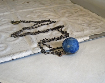 Blue Clay Marble Pendant, Long Necklace, OOAK Recycled Jewelry