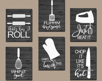Exceptionnel KITCHEN QUOTE Wall Art, Funny Utensil Wall Decor, CANVAS Or Prints Just  Beat It, How I Roll, Dining Room Decor, Set Of 6 Choose Your Colors