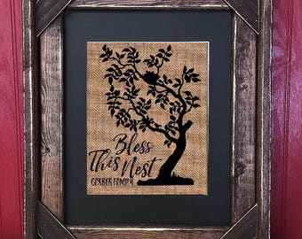 Framed Bless This Nest   Burlap Tree  Personalized   Family Tree   Rustic Housewarming   Barn Wood   Framed   #0138