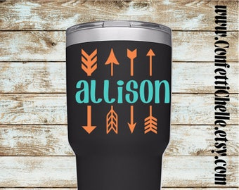 Arrows Decal with Name | Arrow Decal  Sticker| Yeti Decal | Car Decal | Laptop Decal