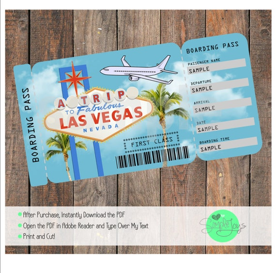 Printable Ticket To Las Vegas Boarding Pass Customizable