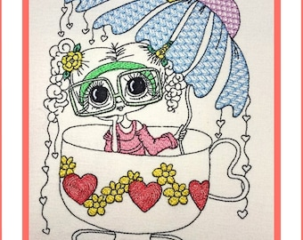 Embroidery Design Cup-Doll  in 9 Sizes, machine embroidery,