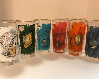 8 vintage apothecary water glasses