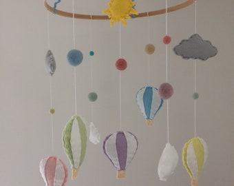 Large Hot Air Balloon Pastel Coloured Felt Baby Mobile