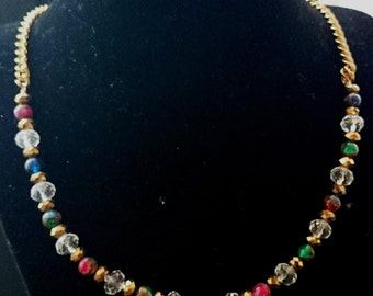 Emerald Ruby and Sapphire pyrite necklace
