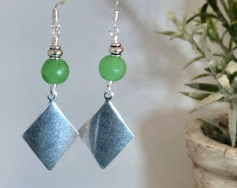 Green Glass Dangles