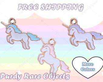 Unicorn Charms 20 pc lot Pink Unicorns Pastel Purple Blue Kawaii Girly Cute Pastel Goth Lolita Pendants Enamel Nickel Free Unicorn Ponies
