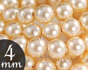 4mm pearls, Light Gold beads, Qty 25